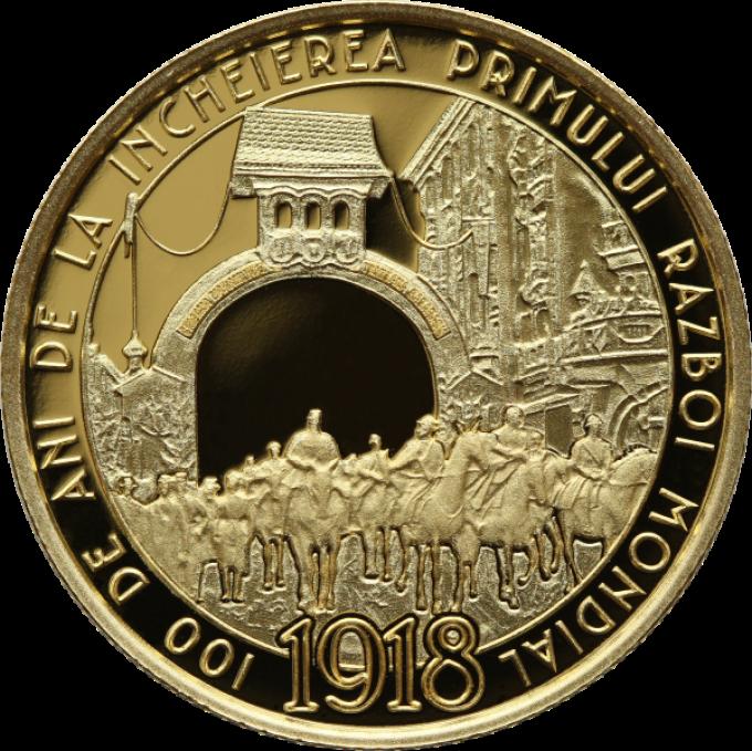 Румыния монета 100 леев 100 лет окончания Первой Мировой войны, реверс