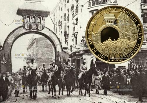 Румыния монета 100 леев 100 лет окончания Первой Мировой войны
