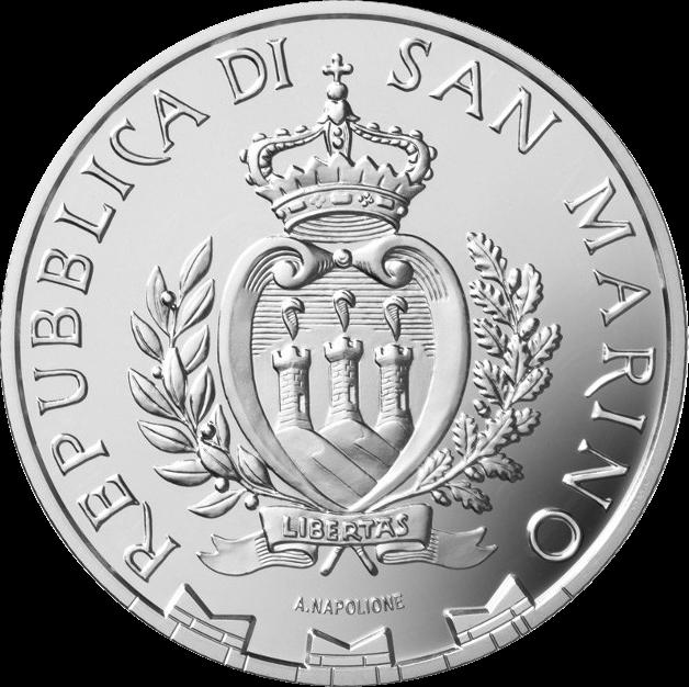Сан-Марино монета 5 евро 250 лет со дня смерти Каналетто, аверс