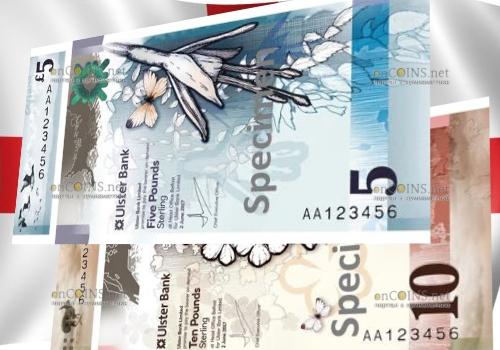 Северная Ирландии банкнота 5 фунтов и 10 фунтов 2019