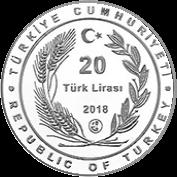 Турция монета 20 лир 100 лет Азербайджанской демократической республики, аверс