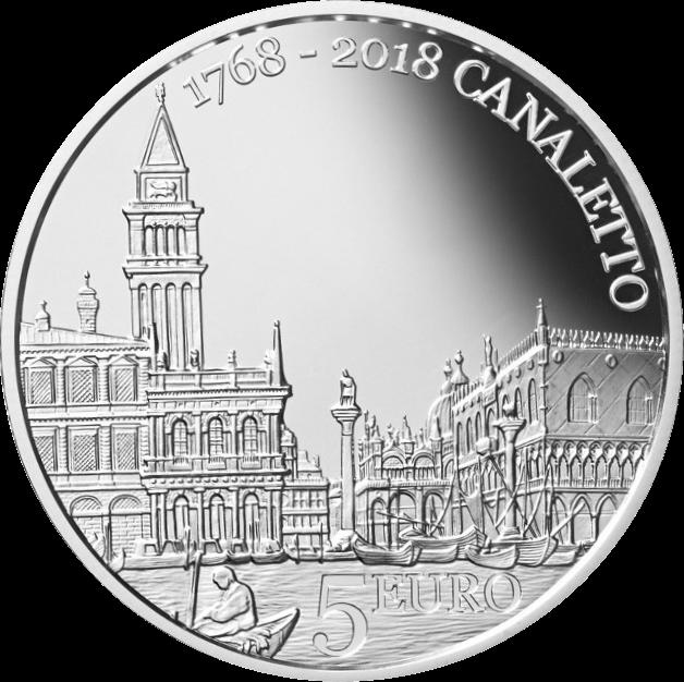 В Сан-Марино монета 5 евро 250 лет со дня смерти Каналетто, реверс