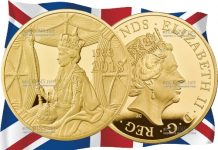 Великобритания монета 10 фунтов 65 лет со дня коронации Елизаветы II