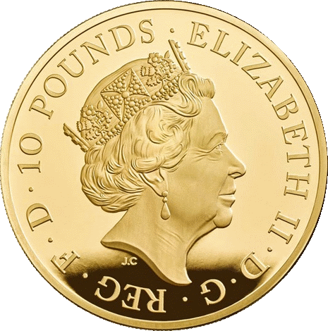 Великобритания монета 10 фунтов 65 лет со дня коронации Елизаветы II, аверс