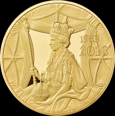 Великобритания монета 10 фунтов 65 лет со дня коронации Елизаветы II, реверс