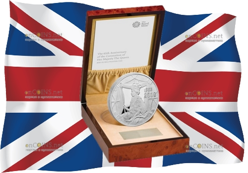 Великобритания монета 500 фунтов 65 лет со дня коронации Елизаветы II, подарочная упаковка