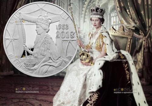 Великобритания монета 500 фунтов 65 лет со дня коронации Елизаветы II