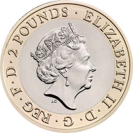 Англия монета 2 фунта Капитан Кук 2018, аверс