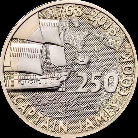 Англия монета 2 фунта Капитан Кук 2018, реверс