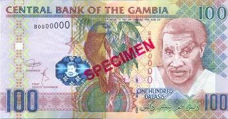 Гамбии банкнота 100 даласи 2018 года, лицевая сторона