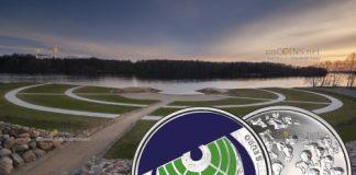 Латвия монета 5 евро Сад судеб в Кокнесе