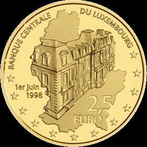 Люксембург монета 2,5 евро 20-летие основания Центрального банка, реверс