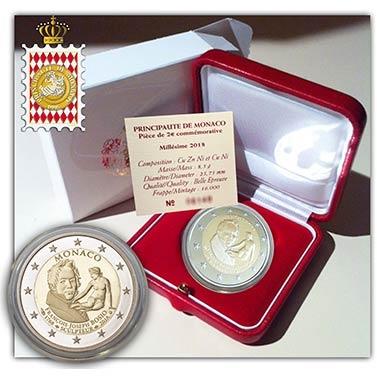 Монако 2 евро 250 лет со дня рождения Франсуа Жозеф Бозио, подарочная упаковка