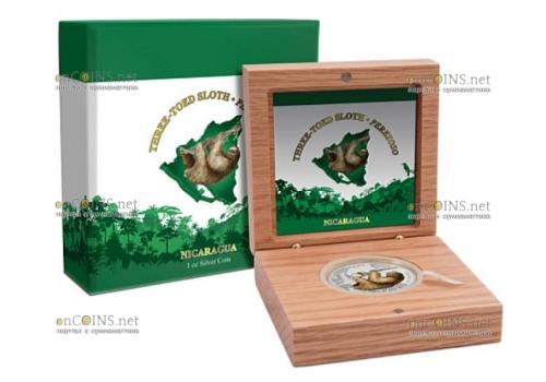 Никарагуа монета 100 кордоба Трёхпалый ленивец, подарочная упаковка