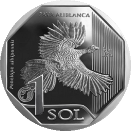Перу монета 1 соль Белокрылый Гуан, реверс