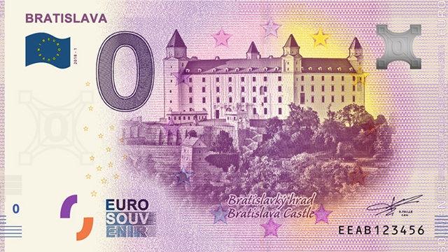 Словакия банкнота 0 евро Братиславский град, лицевая сторона