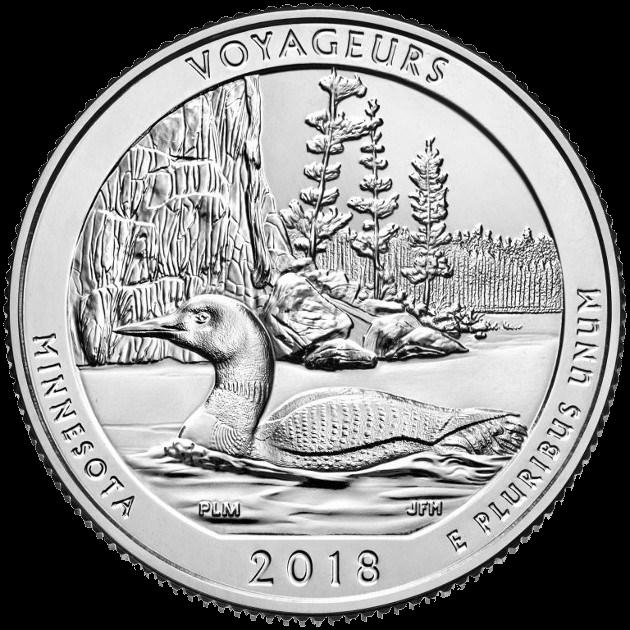 США монета четверть доллара Национальный парк Вояджерс, реверс