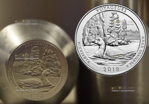 США монета четверть доллара Национальный парк Вояджерс