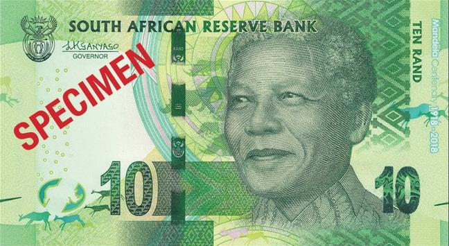 ЮАР памятная банкнота 10 рандов Нельсон Мандела, лицевая сторона