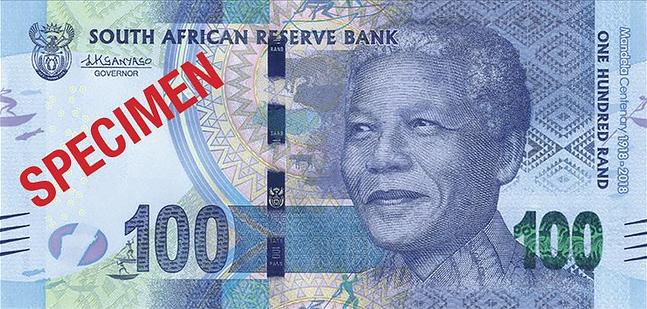 ЮАР памятная банкнота 100 рандов Нельсон Мандела, лицевая сторона