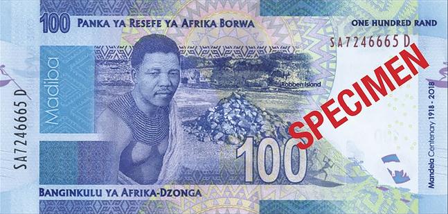 ЮАР памятная банкнота 100 рандов Нельсон Мандела, оборотная сторона