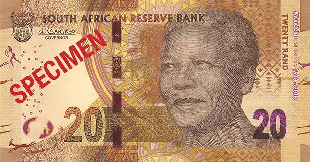 ЮАР памятная банкнота 20 рандов Нельсон Мандела, лицевая сторона
