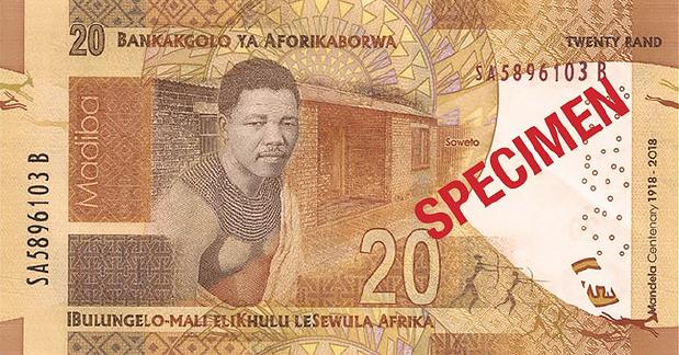 ЮАР памятная банкнота 20 рандов Нельсон Мандела, оборотная сторона