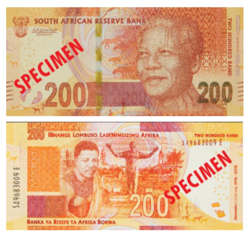 ЮАР памятная банкнота 200 рандов Нельсон Мандела