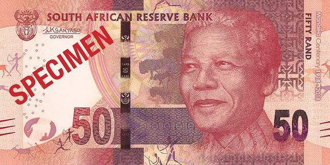ЮАР памятная банкнота 50 рандов Нельсон Мандела, лицевая сторона
