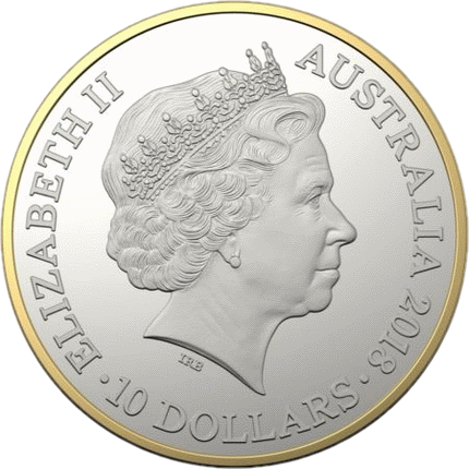 Австралия монета 10 долларов Кенгуру 2018 год, аверс