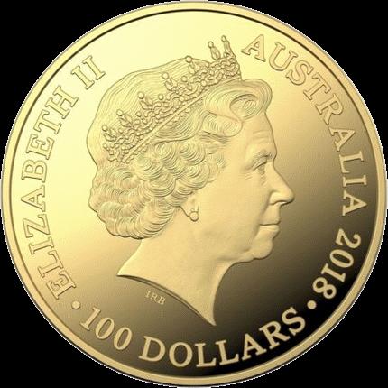 Австралия монета 100 долларов Кенгуру 2018 год, аверс