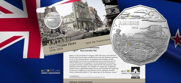 Австралия монета 50 центов Битва при Амьене
