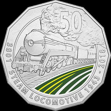 Австралия монета 50 центов Паровоз 3801, реверс
