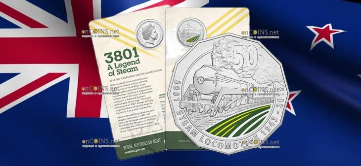 Австралия монета 50 центов Паровоз 3801