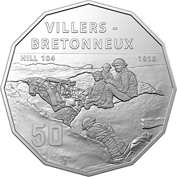 Австралия монета 50 центов штурм города Виллер-Бретонне, реверс