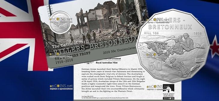 Австралия монета 50 центов штурм города Виллер-Бретонне