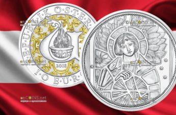 Австрия монета 10 евро Архангел Уриил