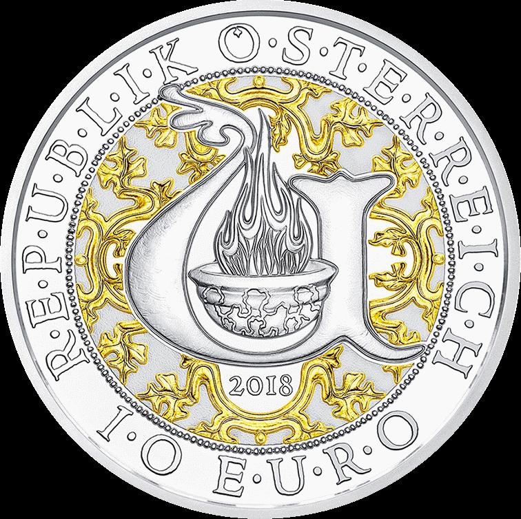 Австрия монета 10 евро Архангел Уриил, аверс, цвет