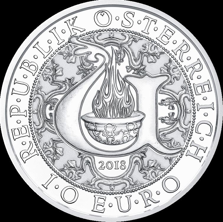 Австрия монета 10 евро Архангел Уриил, аверс