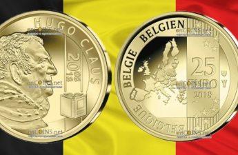 Бельгия монета 25 евро Хьюго Клаус
