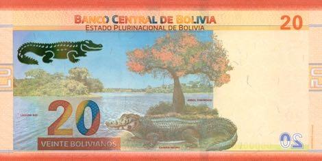 Боливия банкнота 20 боливиано 2018 год, оборотная сторона