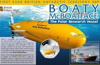 Британская антарктическая территория монета 50 пенсов автономное подводное судно Лояльный МакБоатфейд