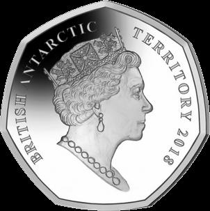 Британская антарктическая территория монета 50 пенсов автономное подводное судно Лояльный МакБоатфейд,аверс