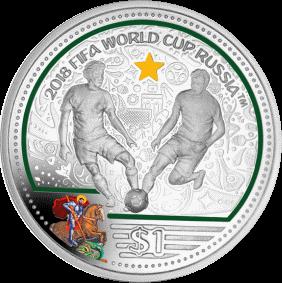Британские Виргинские острова монета 1 доллар Чемпионат мира по футболу Россия 2018, цвет, реверс