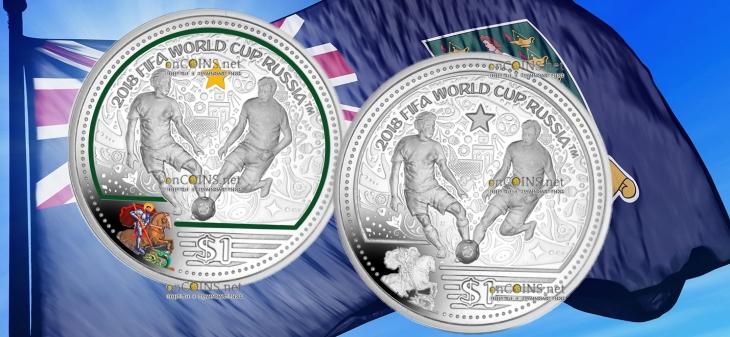 Британские Виргинские острова монета 1 доллар Чемпионат мира по футболу Россия 2018