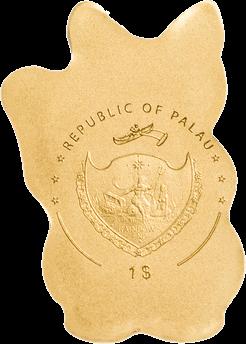Государство-архипелаг Палау монета 1 доллар кот Манэки-нэко, аверс