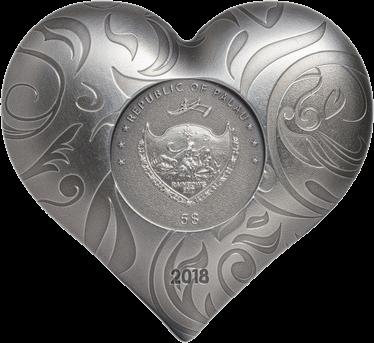 Государство-архипелаг Палау монета 5 долларов Серебряное сердце, аверс
