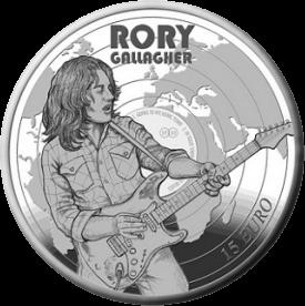 Ирландия монета 15 евро Рори Галлахер, реверс