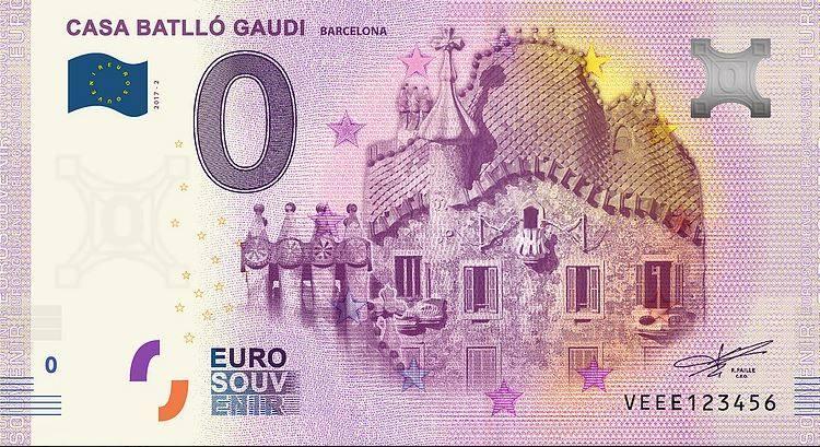 Испания банкнота 0 евро - Каса-Батльо Антони Гауди в Барселоне