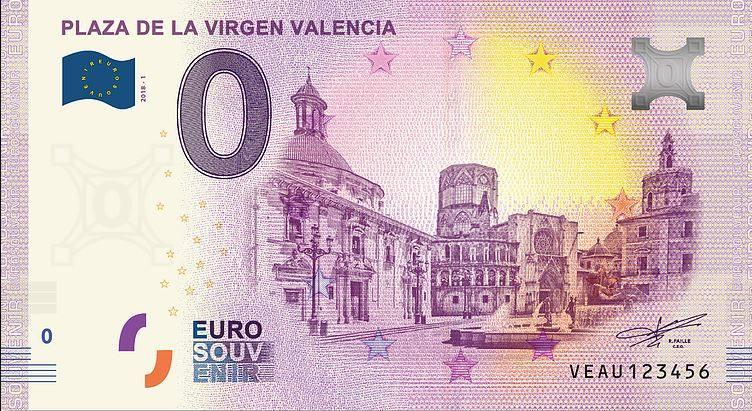 Испания банкнота 0 евро - Площадь Девы Марии в Валенсии